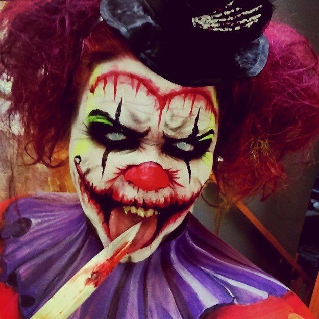 A real scary SFX Killer Clown makeup idea | Pairs great with frosty contact lenses ~ http://www.pinterest.com/pin/350717889705763104/