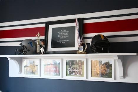 Trophy shelf w/interchangeable team photos.