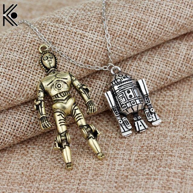Yeni tasarım Star Wars & Robot kolye Kolye maxi uzun kolye Kadın Erkek İyi Arkadaş Gemi Hediye R2D2 Ve C3PO için Kolye