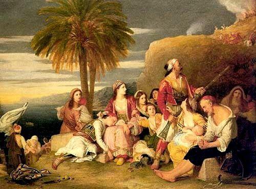 Έλληνες φυγάδες μετά την καταστροφή της Χίου το 1822-Πίνακας του Sir Charles L. Eastlake
