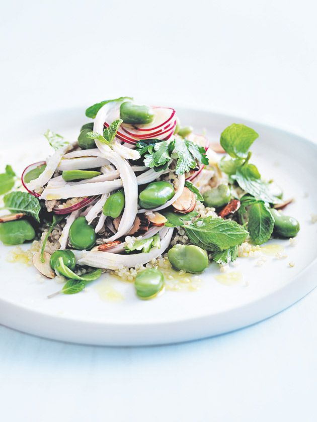 chicken, broad bean and quinoa salad
