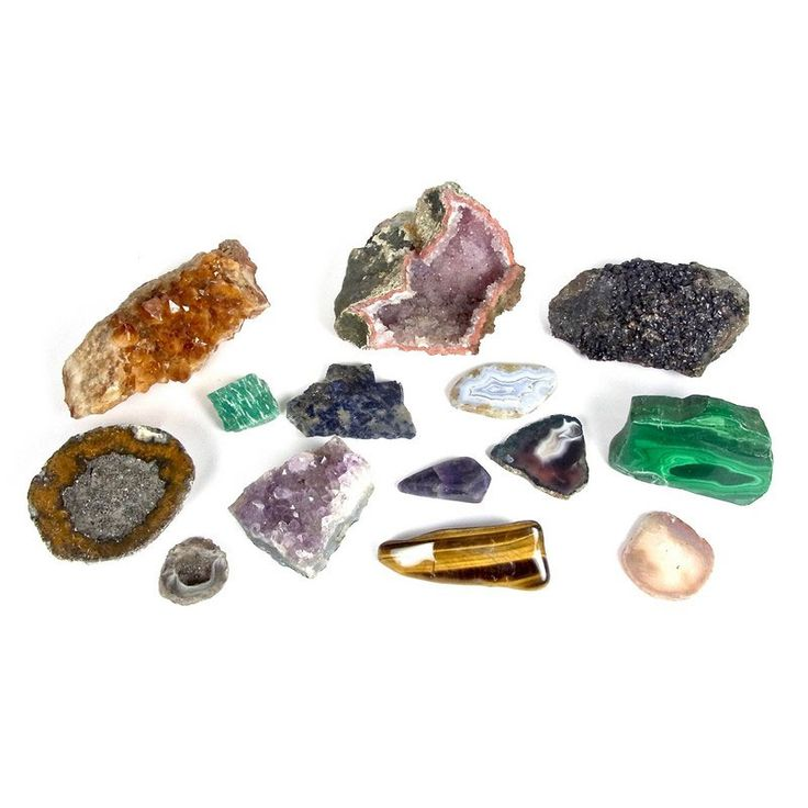 Collection of mineral specimens. Collection of mineral specimens. Includes part of an amethyst geode, part of a citrine geode, a section of amethyst, a section of malachite, a polished section of quartz tiger's eye, three polished slices of agate, a polished section of amethyst and two unidentified geodes. (13 items)