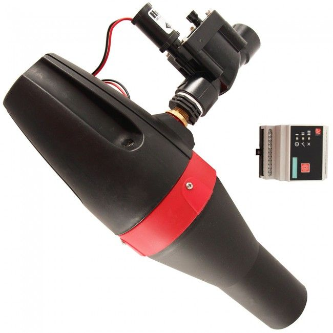 Turbina hidráulica TRD que utiliza la energía presente en el agua de líneas presurizadas para cargar baterías. Suministra una potencia de 12 W aproximadamente.