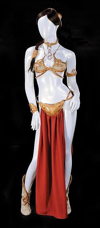 """Carrie Fisher """"Slave Leia"""" costume from Star Wars: Episode VI - Return of the Jedi. / Estimated Price: $80,000 - $120,000: Hollywood Auction 74by Profiles in HistoryPlatinum HouseOctober 1, 2015, 11:00 AM PSTCalabasas, CA, USA Live Auction"""