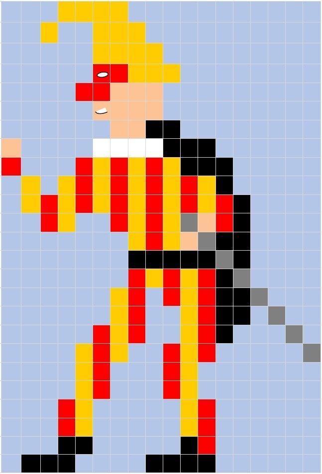 Pixel Art Di Carnevale La Scheda Della Maschera Di Giangurgolo
