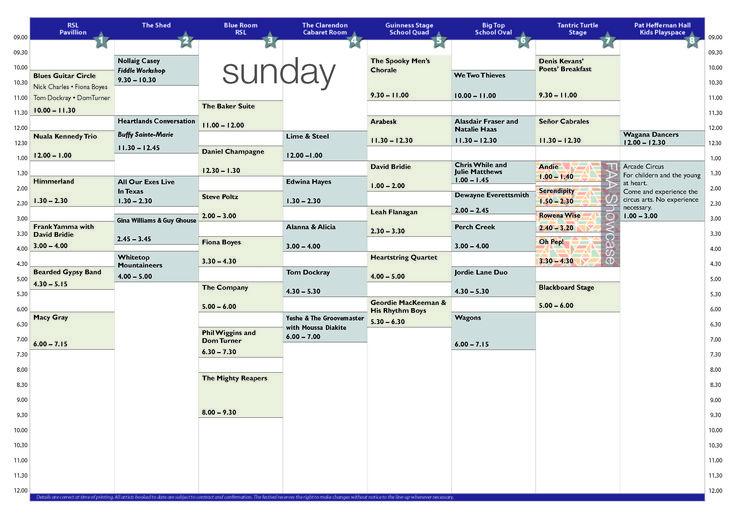 bmff.org.au - sunday concert schedule