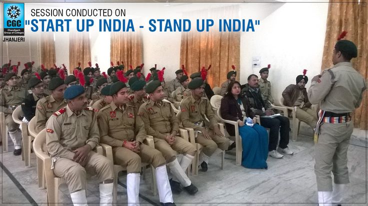 """Under the flagship of 23 Punjab Battalion NCC, Ropar, NCC cadets of CGCTC conducted a discussion on """"Start up India - Stand up India """" program launched by the Govt. of India on 16th January 2016. This movement has transversed a long distance in terms of policies and support to entrepreneurs across the length and breadth of the country.  Director General of NCC@INDIA desired cadets to understand this startup culture, being the young members of the society."""