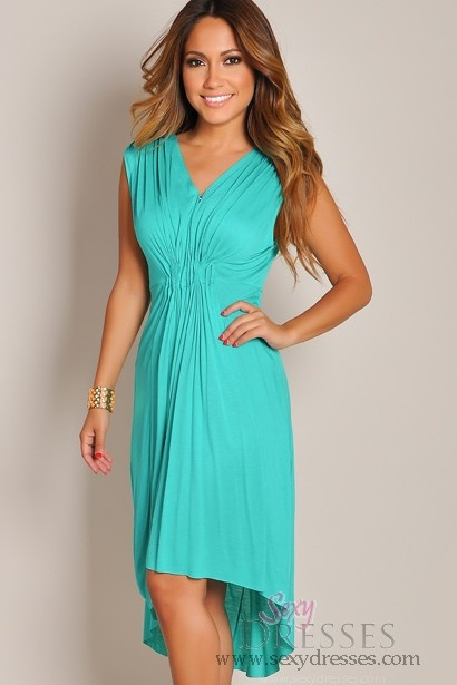 Sleeveless Teal Green Casual V-Neck Day DressGreen Casual Dresses