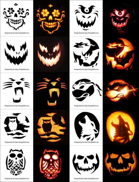 Free Halloween Scary Cool Pumpkin Carving Stencils Patterns