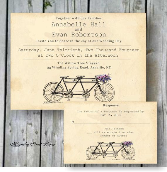 Tandem Bicycle Wedding Invitation, Custom Printable, Includes RSVP, Tandem Bike Rustic Wedding, Vintage Bicycle Invitation, Wedding Suite