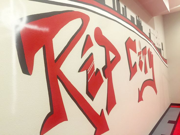 Modern urban Farmhouse, indoor sports court, indoor basketball court, man cave, teen space, playroom, tv room, rock climbing wall, kid space, kid room, Trail Blazers, basement, Rex room, indoor gym, hoops, mural, graffiti, drinking fountain , Hand Painted graffiti Trail Blazers Rip City mural