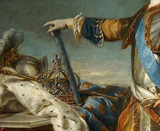 Particolari di opere: Ritratto di Luigi XV re di Francia e di Navarra. Luis Michel van Loo, olio su tela del 1723. 205 X 171. Palazzo di Versailles. Nel ritratto il giovane re ha soltanto 13 anni: il ricco mantello con i colori del trono francese, i gigli oro su campo azzurro sono ripetuti anche sul bastone del comando e nella corona.