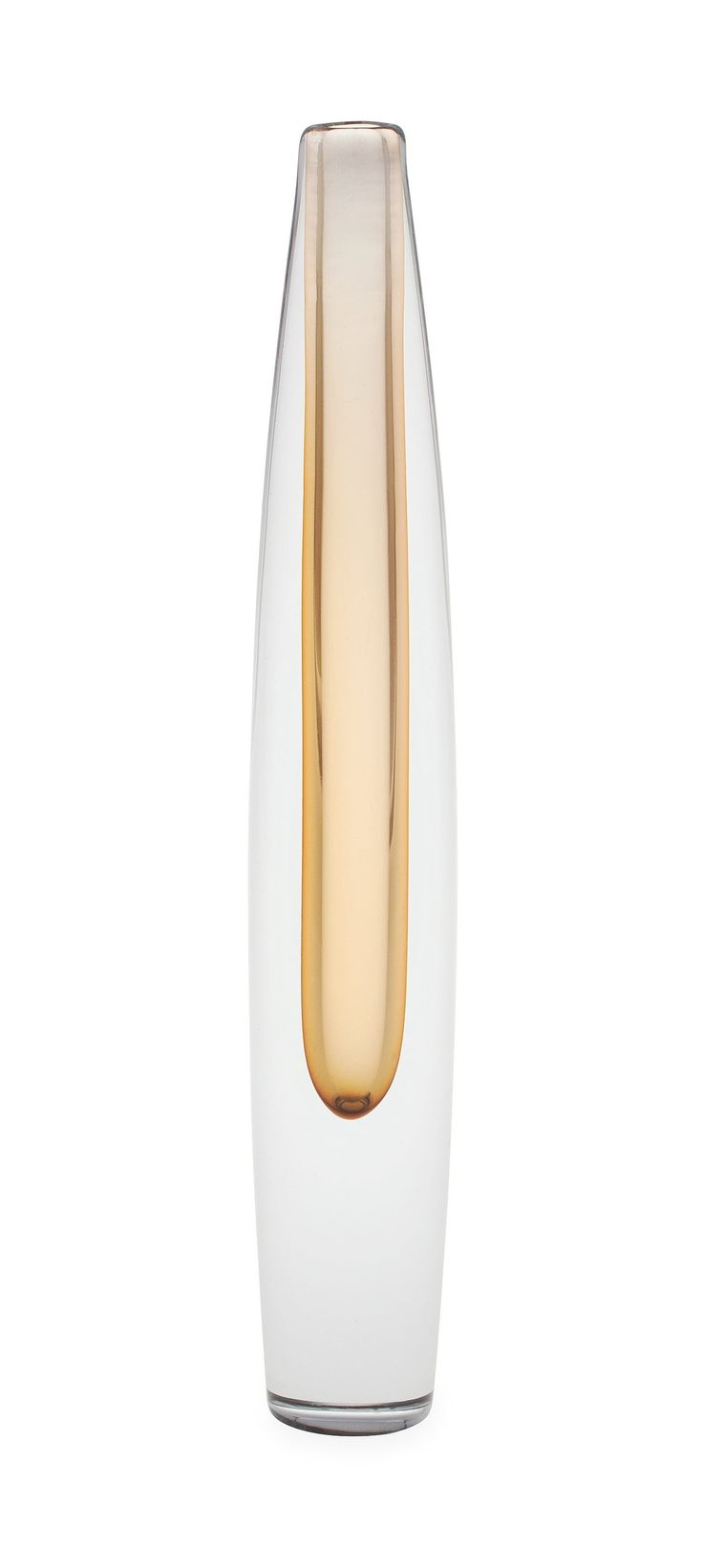 Tapio Wirkkala, Vase, signed Tapio Wirkkala, Iittala 3221. Clear and brown-yellowish cased glass.