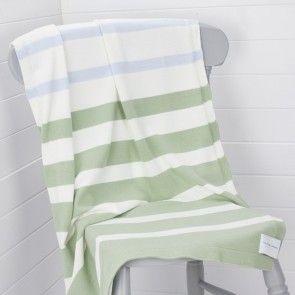 Battledown Green Stripe Cotton Blanket