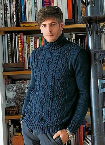 This cabled turtleneck sweater is a winter classic. In soft-but-sturdy Baronval yarn, it's easy to care for too! The pattern uses size 3 and...