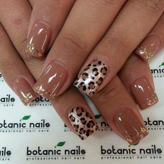 Glimmer nails tan nude color leopard nail art with gold nail decals #nailart #naildesign