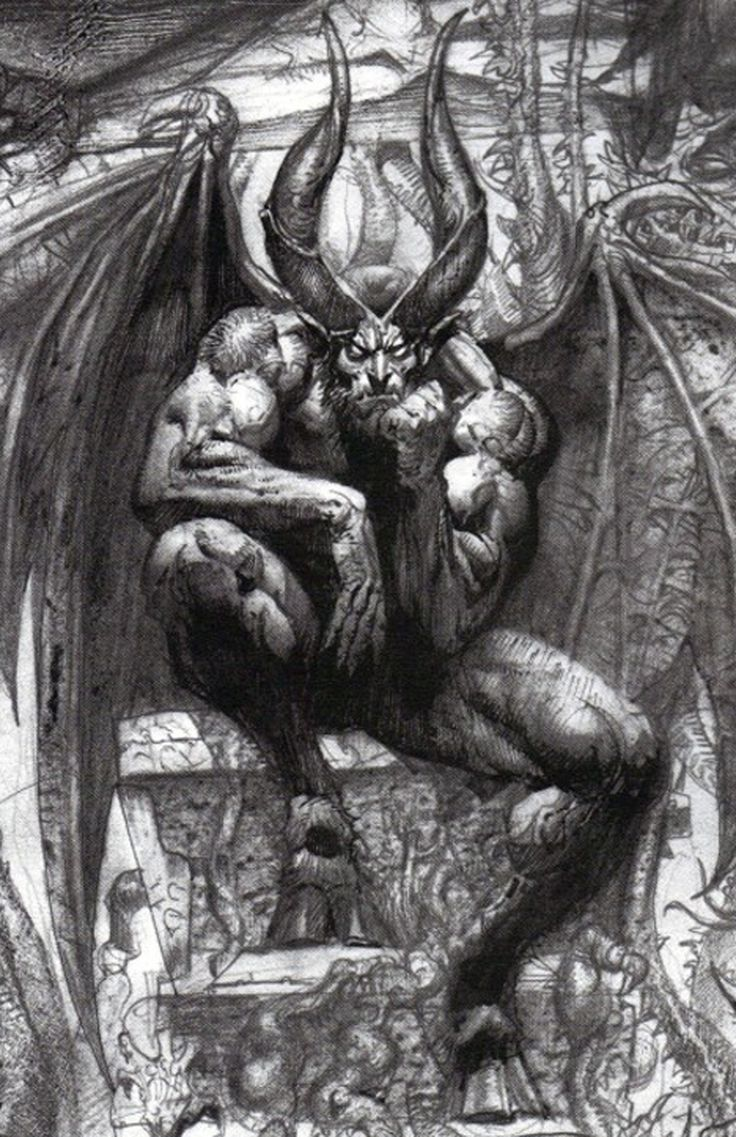 Luicifer on the throne,paradise lost (detail) by Simon Bisley.