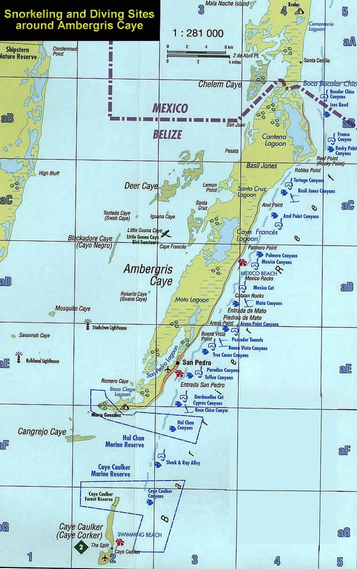Map Of Dive And Snorkel Sites Around Ambergris Caye And Caye Caulker
