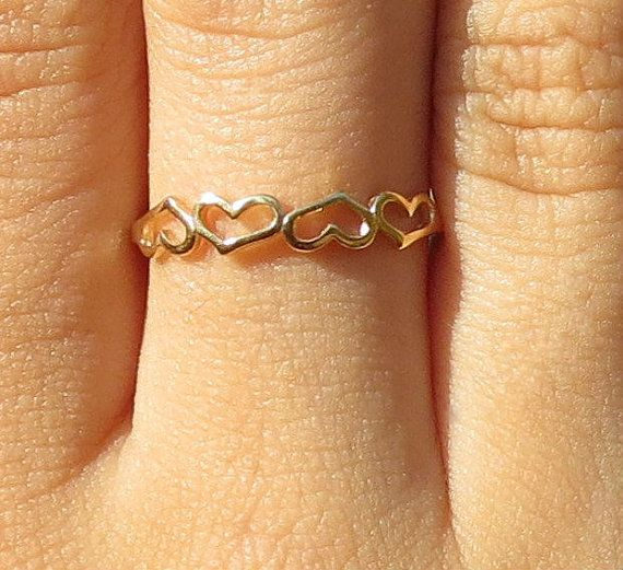 Eternity Heart Ring Gold Heart Ring Linked Hearts Ring by ZmirArts