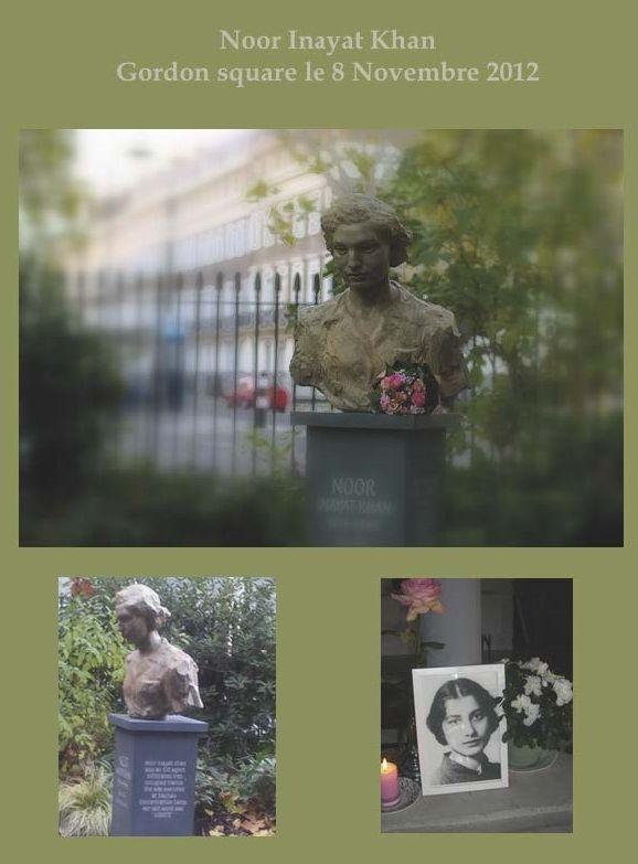"""Noor-un-Nisa Denkmal im Gordon Square in London.  Sie wurde damit für ihre mutige Arbeit als Agentin in der französischen Resistance im 2. Weltkrieg geehrt. Sie gab ihr Leben für Frieden, Gewaltlosigkeit und die Einheit der Religionen. Bei uns erhältlich: Das einzige von Noor-un-Nisa erschienene Buch """"Zwanzig Jataka Märchen"""". http://www.verlag-heilbronn.de/autorinnen/noor-un-nisa-inayat-khan/"""