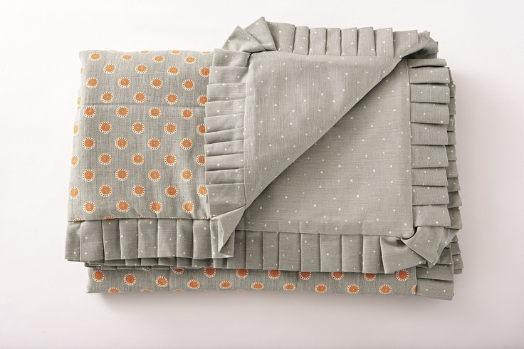 Frilled Quilt The quilts have a luxurious wadding and are wonderfully warm.  Can be used on beds or perfect for throws on sofas. Frilled quilt, hand made here in the Cotswolds available in 4 sizes:    single - 90cm x 190cm    double - 135cm x 190cm    kingsize - 150cm x 200cm    super kingsize - 185cm x 200cm