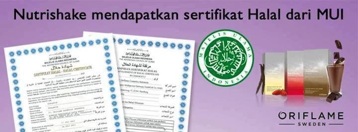 Alhamdulillah, Nutrishake Oriflame mendapatkan Sertifikat Halal dari MUI
