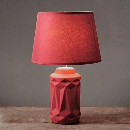 Gjy Nordic Red Ceramic Table Lamp Bedroom Bedside Creative Remote