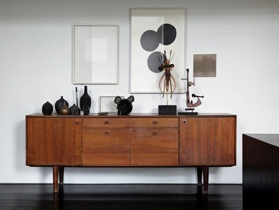 sideboard with art and collections