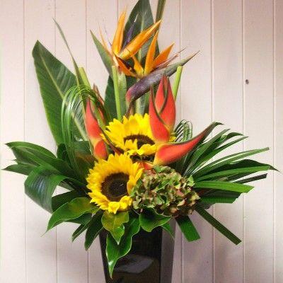 Tropical arrangement - Fiona Penny at Sunflowers Florist Weymouth