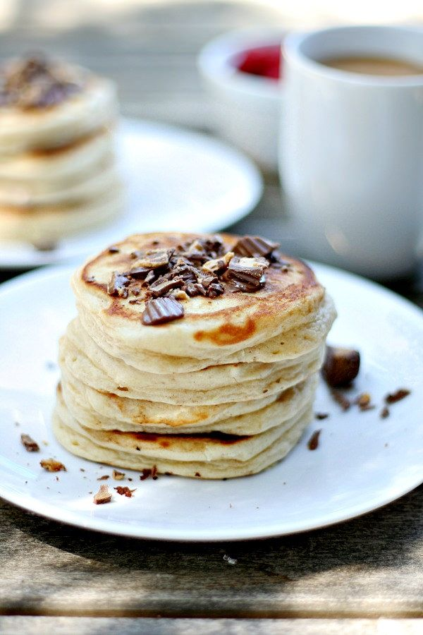 Peanut Butter Pancakes loaded with Reese's Peanut Butter Cup Minis