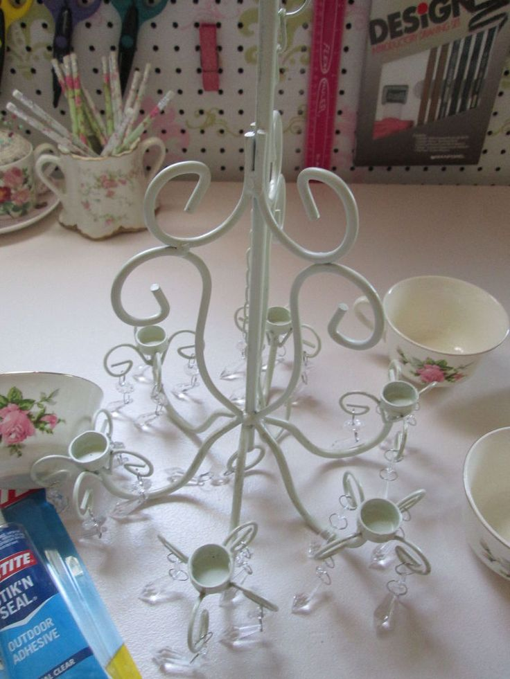 Outdoor Candle Chandelier Turned Coffee Cup Planter