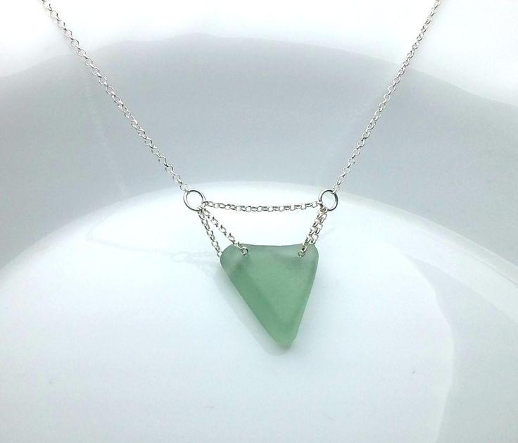 Genuine Sea Glass Necklace OOAK Sea Glass Jewelry Triangle Pendant Triangle Necklace Beach Glass Pendant Green Charm Necklace, Ocean Pendant by KarousosJewelry on Etsy