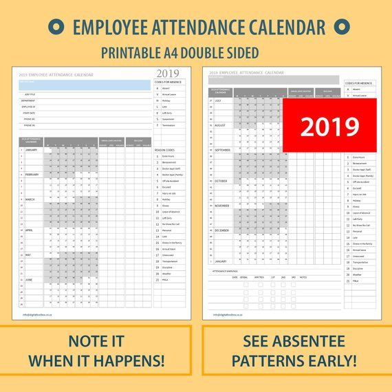 2021 A4 Printable Employee Attendance Absentee Etsy Calendar Printables Blank Calendar Template Calendar