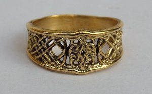 OPEN RING WITH SHIELD ORNAMENT, BRASS