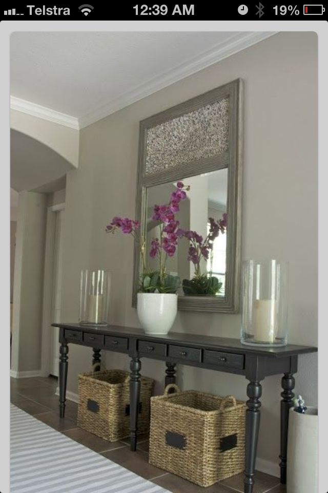simple console table decors home decor pinterest entry ways fireplaces and baskets for. Black Bedroom Furniture Sets. Home Design Ideas