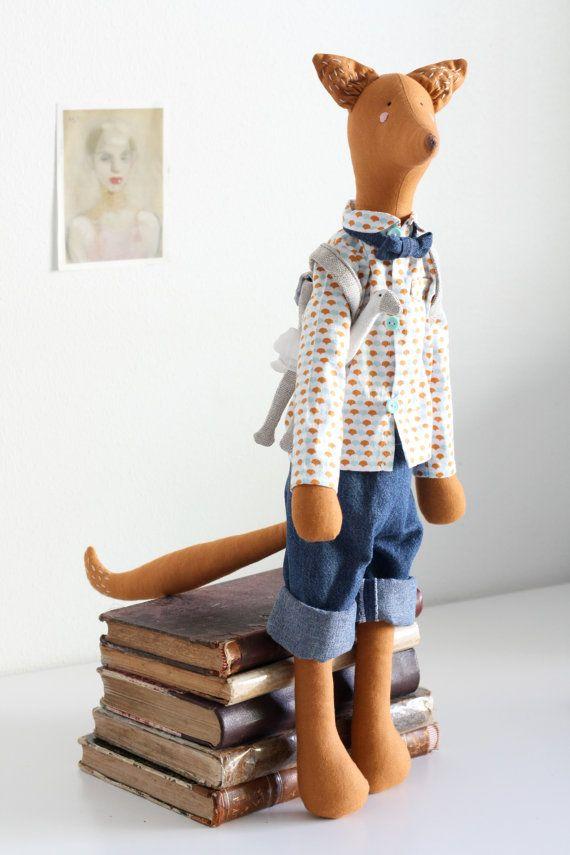 Stuffed stylish fox doll Handmade fabric toy by dearblueberryshop, €37.00