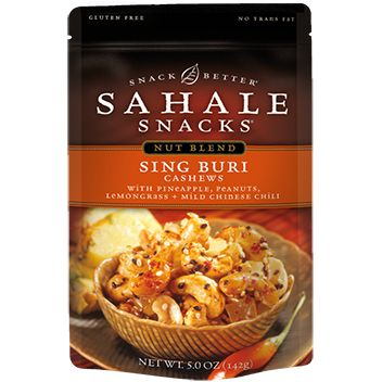 The 50 Best Snack Foods in America 4. Best Seasoned Nuts Sahale Snacks Sing Buri Cashews  Per ¼ cup: 120 calories 8 g fat 4 g protein 1 g fiber  Sahale hit upon an insanely flavorful recipe with these cashews. They're slow roasted with cheddar and Monterey Jack cheese, paprika, and two varieties of chili powder. Yeah, they're good.