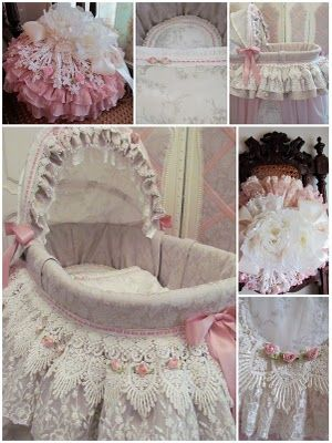 Angela Lace: A very pink Moses basket.
