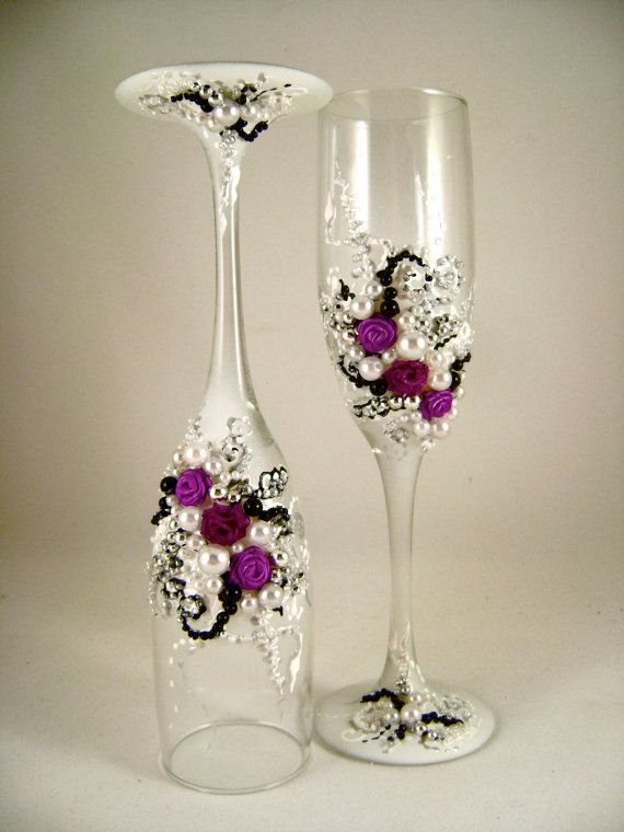 Gorgeous Wedding Champagne Glasses Hand Decorated With Fabric Roses