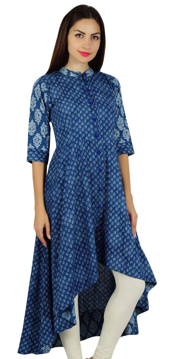 The dress designs - Bimba Womens Asymmetrical Blue Kurta Designer Kurti Mandarin Collar Block Print