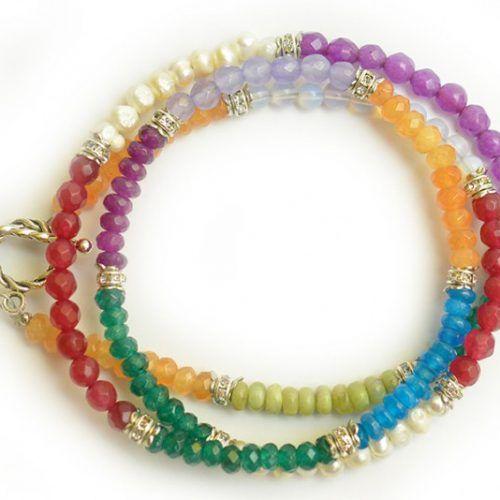 Bratara Handmade din agat, jad, perle de cultura, coral si lapis lazuli