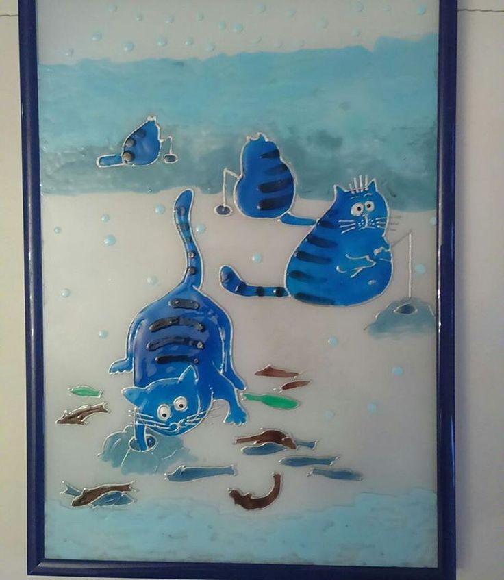"""Такие вот коты... На зимней рыбалке;) Именно так и называется эта работа нашей художницы по витражам - """"На зимней рыбалке"""""""