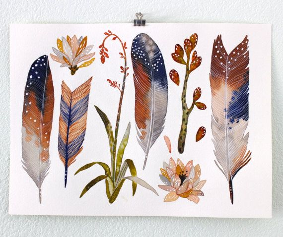Feathers and Succulent Art Print Watercolor Painting by RiverLuna