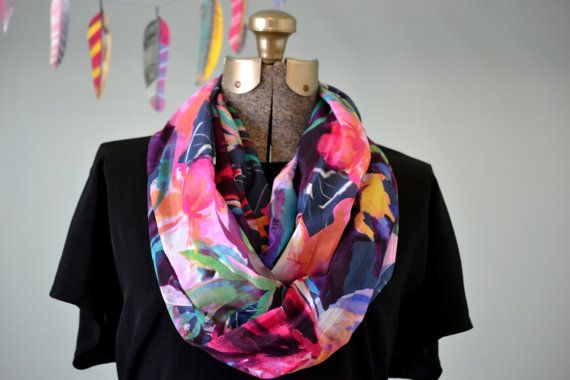 Silk Cotton Watercolor Print Infinity Scarf by Bohgeo on Etsy, $24.00