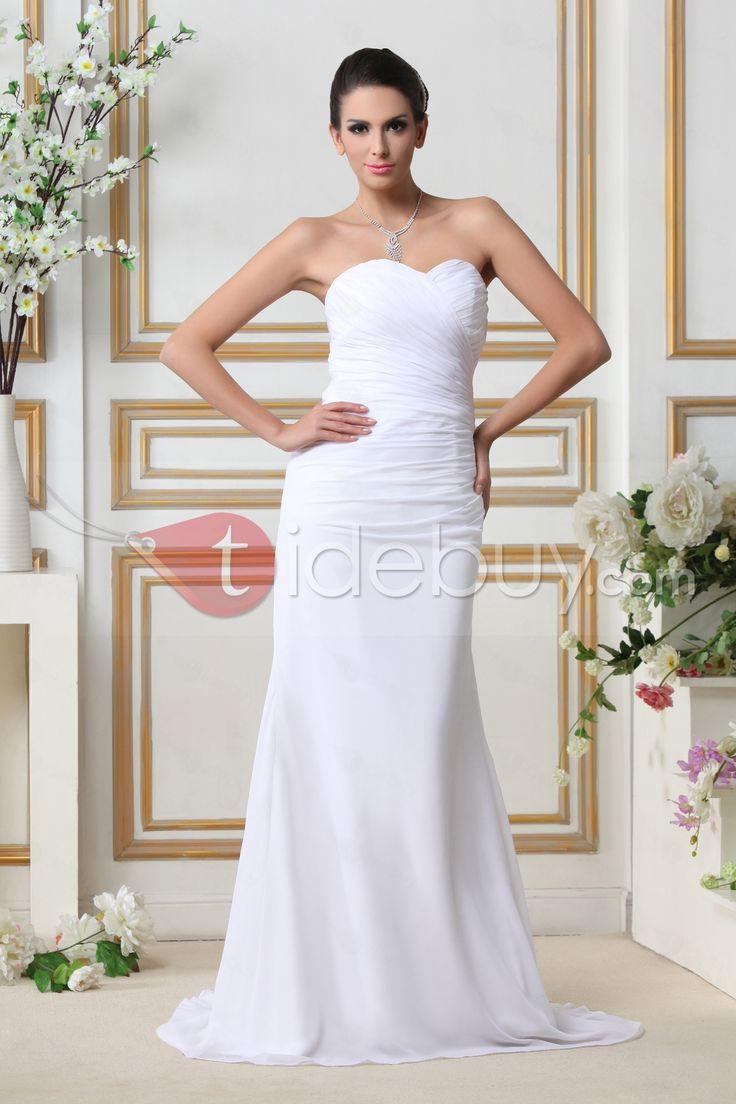 スイートハートネックシースシルエットスタイル 安いウェディングドレス