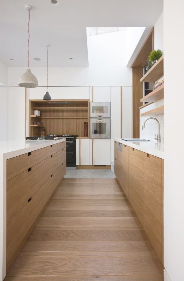Wood and white kitchen with ultra clean lines