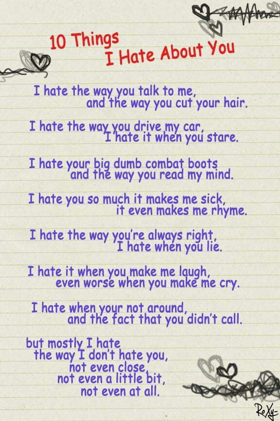 Movie Quotes - Back Page Of My Notebook |I Hate You Poems And Quotes