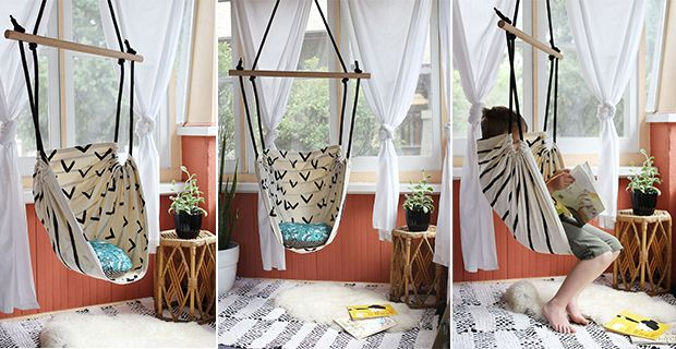 "Hammock chair tutorial | Elsie and Emma from ""A beautiful mess"" blog."