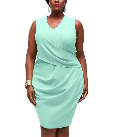 Love this Mint Drape Dress - Plus on #zulily! #zulilyfinds