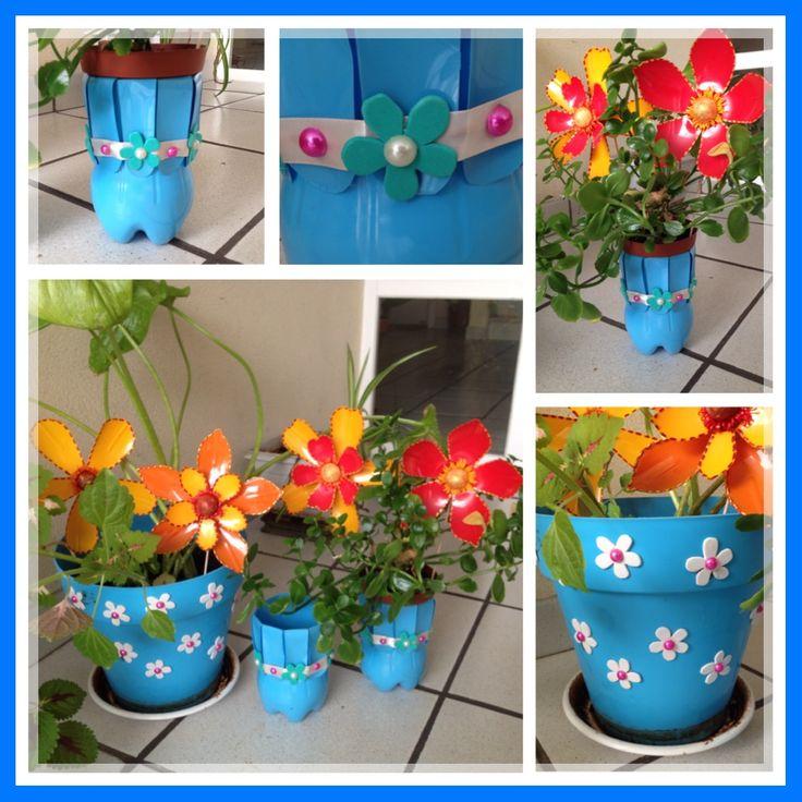Macetas macetero o tiesto de botellas de plastico for Macetas decoradas para jardin